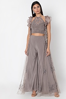 Grey Crop Top With Flared Pants & Cape by Babita Malkani