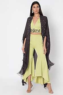 Mint Green Crop Top WIth Pants & Cape by Babita Malkani