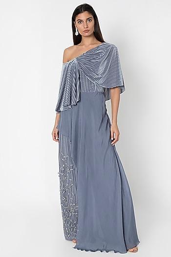 Slate Grey Embellished Jumpsuit WIth Cape by Babita Malkani