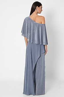 Slate Grey Embellished Jumpsuit WIth Cape by Babita Malkani