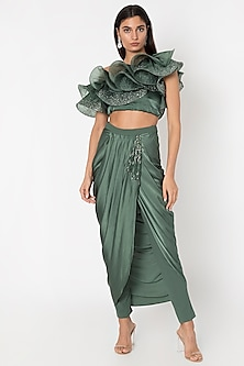 Seaweed Green One Shoulder Ruffled Blouse With Embroidered Draped Pants by Babita Malkani