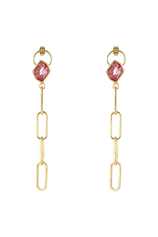 Gold Plated Rose Swarovski Crystal Earrings by Zariin