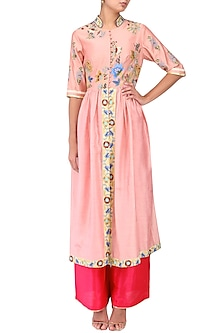 Icy Pink Pleated Kurta and Pants Set by Breathe By Aakanksha Singh
