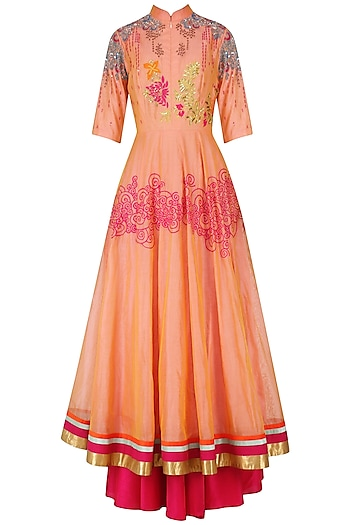Orange Floral Embroidered Anarkali Set by Breathe By Aakanksha Singh