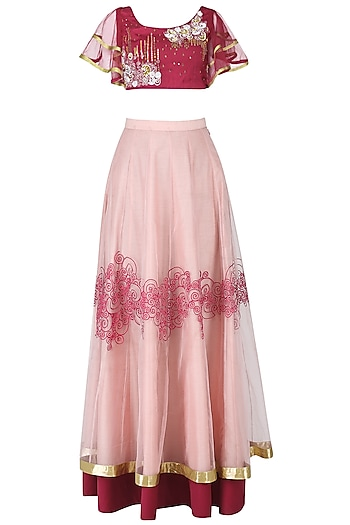 Maroon and Icy Pink Embroidered Lehenga Set by Breathe By Aakanksha Singh