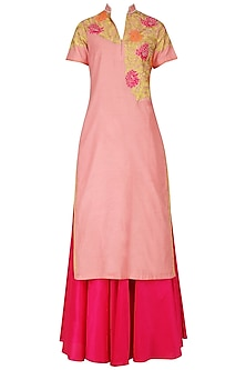 Light Pink and Magenta Embroidered Kurta Set by Breathe By Aakanksha Singh