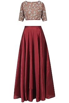 Burgundy and Blue Embroidered Lehenga Set by Breathe By Aakanksha Singh