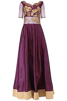Wine Embroidered Anarkali Set by Breathe By Aakanksha Singh