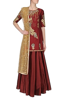 Deep Red Embroidered Short Kurta with Lehenga Set by Breathe By Aakanksha Singh