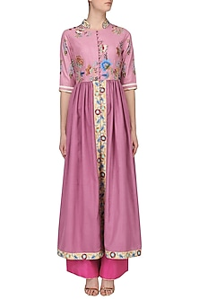 Onion Pink Pleated Kurta and Pants Set by Breathe By Aakanksha Singh