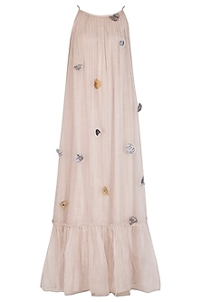 Grey Embroidered Maxi Dress by Breathe By Aakanksha Singh
