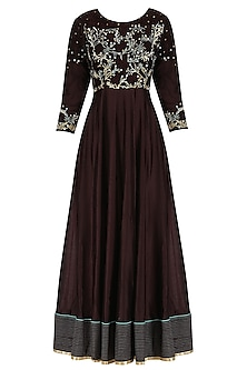 Chocolate Brown Embroidered Anarkali Set by Breathe By Aakanksha Singh