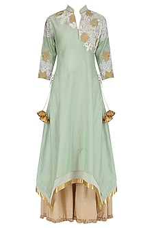 Aqua Blue Embroidered Asymmetrical Kurta and Sharara Set by Breathe By Aakanksha Singh
