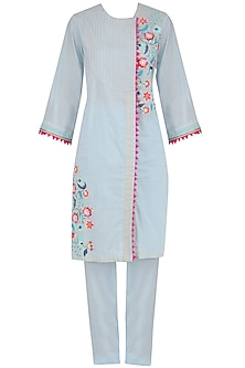 Powder Blue Embroidered Straight Kurta and Pants Set by Breathe By Aakanksha Singh