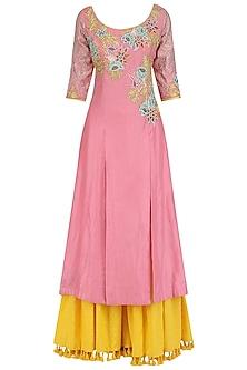 Rose Pink A-Line Kurta and Sharara Set by Breathe By Aakanksha Singh