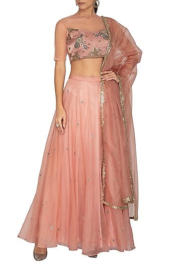 Pink Embroidered Lehenga Set by Breathe By Aakanksha Singh