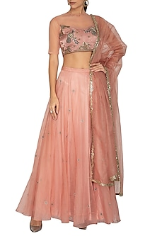 Pink Embroidered Lehenga Set by Breathe By Aakanksha Singh