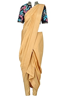 Sunset Orange Draped Saree and Blue Blouse by Breathe By Aakanksha Singh