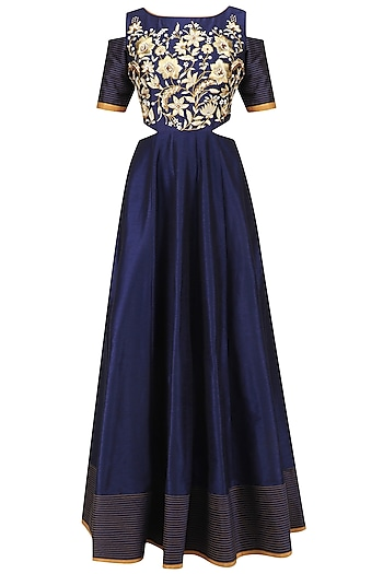Navy Blue Anarkali Gown and Dupatta Set by Breathe By Aakanksha Singh