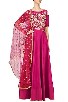 Pink Anarkali Gown and Dupatta Set by Breathe By Aakanksha Singh
