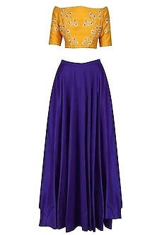 Yellow Off Shoulder Blouse and Skirt Set by Breathe By Aakanksha Singh