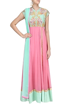 Pink and Blue Floral Embroidered Anarkali Kurta Set by Breathe By Aakanksha Singh