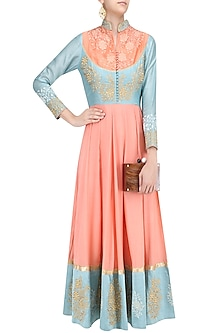 Peach and Blue Floral Embroidered Anarkali Kurta Set by Breathe By Aakanksha Singh