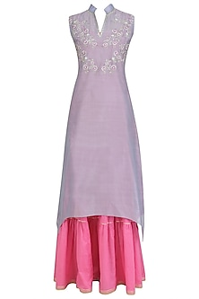 Lilac and Pink Floral Embroidered Kurta and Sharara Sets by Breathe By Aakanksha Singh