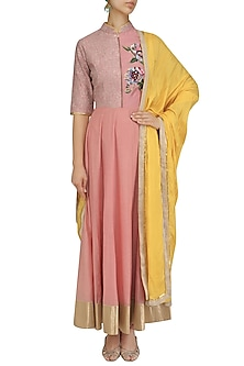 Blush Pink and Yellow Floral Embroidered Kalidaar Set by Breathe By Aakanksha Singh