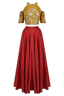 Gold Cold Shoulder Crop Top with Red High Waisted Skirt by Breathe By Aakanksha Singh