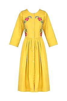 Yellow Button Up Dress by Breathe By Aakanksha Singh