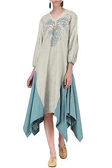 Light Grey High Low Dress by Breathe By Aakanksha Singh