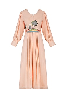 Peach Embroidered Dress by Breathe By Aakanksha Singh