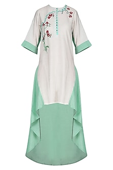 White High Low Hand Thread Work Tunic by Breathe By Aakanksha Singh