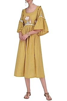 Mustard Bell Sleeves Dress by Breathe By Aakanksha Singh
