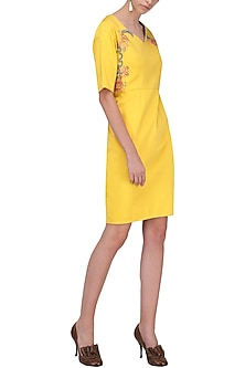 Yellow Knee Length Dress by Breathe By Aakanksha Singh