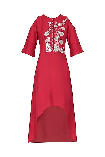 Red High Low Dress by Breathe By Aakanksha Singh