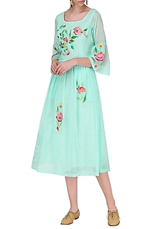 Aqua Blue Floral Dress by Breathe By Aakanksha Singh