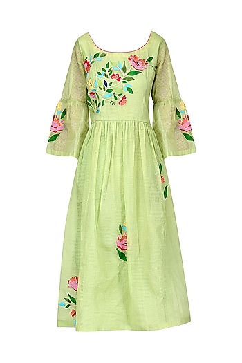 Light Green Floral Dress by Breathe By Aakanksha Singh