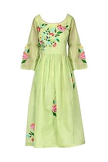 Light Green Floral Dress by Breathe By Aakanksha Singh