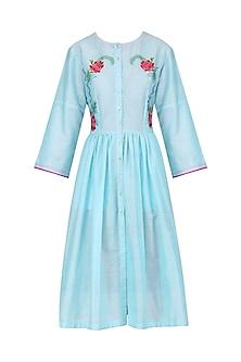 Aqua Blue Floral Thread Work Dress by Breathe By Aakanksha Singh