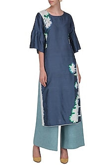 Blue Frilled Sleeves Kurta Set by Breathe By Aakanksha Singh