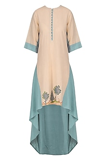 Peach and Blue Tunic by Breathe By Aakanksha Singh