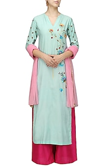 Powder Blue Floral Kurta and Pink Palazzo Set by Breathe By Aakanksha Singh