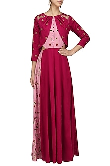 Deep Red Printed Panel Maxi by Breathe By Aakanksha Singh