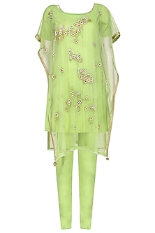 Lime Green Embroidered Kaftan Style Kurta Set by Breathe By Aakanksha Singh