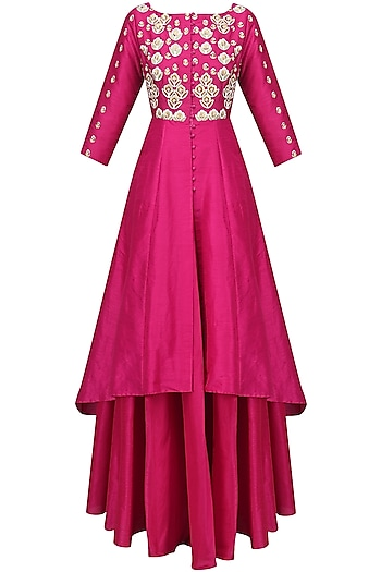 Fuschia Embroidered Kalidaar and Skirt Set by Breathe By Aakanksha Singh
