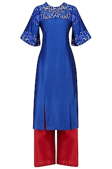 Cobalt Blue Open Slit Kurta and Red Palazzo Set by Breathe By Aakanksha Singh