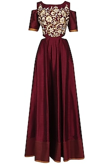 Maroon Cold Shoulder Anarkali Gown and Dupatta Set by Breathe By Aakanksha Singh