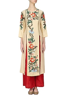 Beige Floral Embroidered Kurta and Red Palazzo Set by Breathe By Aakanksha Singh